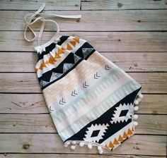 Baby Romper- Sunsuit - Aztec Tribal- Playsuit - Tribal Romper -baby romper