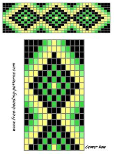 free-beading-patterns-barrette-green-diamonds by Ken Weiss Beading Patterns Free, Seed Bead Patterns, Peyote Patterns, Loom Bracelet Patterns, Bead Loom Bracelets, Inkle Weaving, Bead Weaving, Mochila Crochet, Native American Beadwork