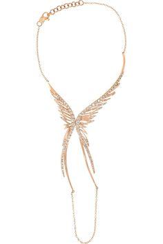 CristinaOrtiz|9-karat rose gold diamond finger bracelet(=)