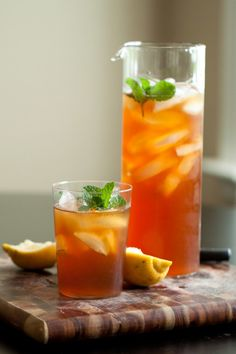 ... iced tea + becoming - http://www.pingirls.com/rhubarb-mint-iced-tea