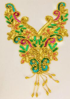2a4ce8dadcee Designer Motif Neckline with Brite Multi-colored Sequins and Beads 15