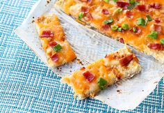 "Fully Loaded Cauliflower Garlic ""Bread"" . Perfect for low carb diets like South Beach and more! Healthy and delicious!"