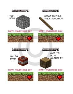 Minecraft Valentines Day Cards 2 for $5.00   Valentines Day Cards   Paper Imagery Designs