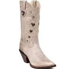 """Durango Women's Tan 10"""" Light Taupe With Heart Western Boots"""