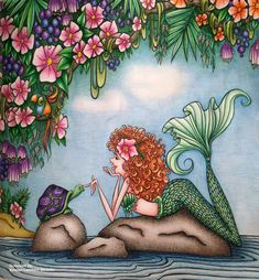 "Gefällt 406 Mal, 47 Kommentare - Kristen Lambert-Bedelis (@kristenlambertbedelis) auf Instagram: ""Finished! Such a joy colouring this gorgeous pic from Mermaids in Paradise by #denyseklette. Couple…"""
