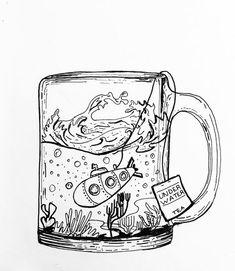 mug art Drawing cool letters art journals 15 ideas for 2019 Art Drawings Sketches, Doodle Drawings, Doodle Art, Doodle Sketch, Underwater Drawing, Bottle Drawing, Brush Pen Art, Mug Art, Posca