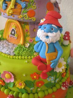Smurfs tiered cake