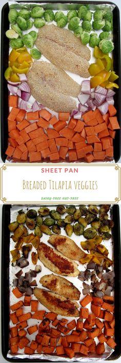 sheet pan breaded tilapia veggies