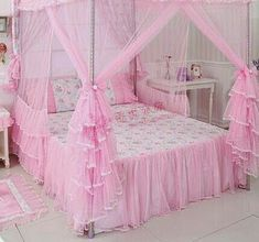 Dream pink relax life at home Room Design Bedroom, Girl Bedroom Designs, Girls Bedroom, Bedroom Decor, Princess Bedrooms, Pink Bedrooms, Princess Room, Pink Princess, Bed Cover Design