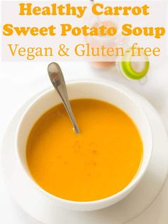 This healthy carrot and sweet potato soup recipe is delicious and simple to make. Vegan and gluten free it's also low calorie and filling too. Dairy free, it's a soup that gives you a warming hug just when you need it most! Quick Healthy Lunch, Healthy Soup, Gourmet Recipes, Soup Recipes, Healthy Recipes, Savoury Recipes, Barbecue Recipes, Sweet Potato Carrot Soup, Low Fat Cooking