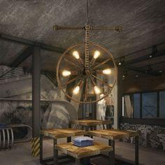 Wrought Iron Rectangular Chandelier  in Industrial Loft Style