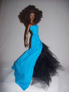 Lovely Sky Blue & Black Barbie Doll Tulle Gown by robabella, $15.00