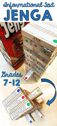 Informational Text Jenga game for any article | Grades 7-12