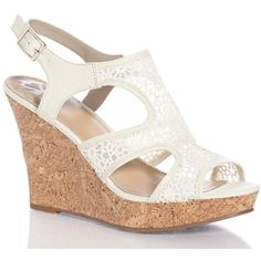 Crochet Cork Wedge Sandals (€22) ❤ liked on Polyvore featuring shoes, sandals, wedges, open toe wedge sandals, fancy sandal, wedge sandals, elastic wedge sandals and open toe sandals