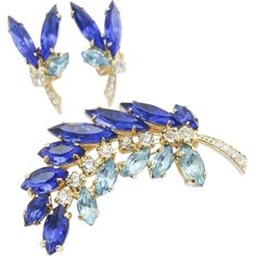 Vintage Blue Rhinestone Brooch and Clip On Earring Set, Rhinestone Leaf, Cobalt Blue, Aquamarine Blue, Gold Tone