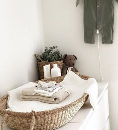 Lidor - Verschoningsmand -changing basket - This stunning changingcorner is soo ready for a baby👶🏼 📷 - Baby Bedroom, Baby Boy Rooms, Baby Boy Nurseries, Baby Room Decor, Kids Bedroom, Nursery Nook, Nursery Inspiration, Nursery Neutral, Kids And Parenting