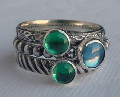 Birthstone Stackable Rings / Set of 3 / by GizmosTreasures on Etsy, $99.00