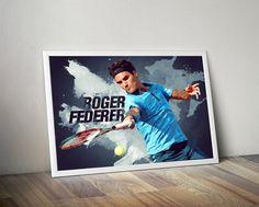 Roger Federer Tennis Print Poster Roger Federer by wallart decorative decor home decor printable wall art design soccer design kid's room badroom gift ideas gift soccer football champions league europan league world cup Cloudprintshop