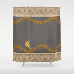 Items similar to Yellow Bird Shower Curtain - 71 in x 74 in Gift Cute Kids Children Fantasy Fashion Apartment Bath Bathroom Nursery Decor Accent Original Art on Etsy
