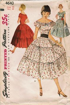 Junior Misses' Dress Simplicity 4640 size 13 Bust 31 Vintage Dress Patterns, Clothing Patterns, Vintage Dresses, 1950s Dresses, Vintage Clothing, 1940s Fashion, Vintage Fashion, Club Fashion, Retro Outfits