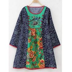 Floral Print Embroidered Ethnic Style Dress - Cute idea for a tunic, maybe take in a bit more at the waist. Sewing Clothes, Diy Clothes, Clothes For Women, Ethnic Fashion, Kids Fashion, Womens Fashion, Baby Dress, The Dress, Creation Couture