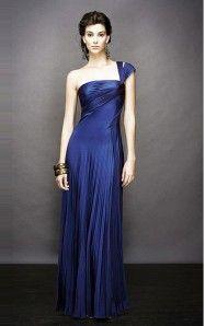 A-line Floor-length One Shoulder Royal Blue Dress