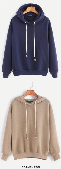 Dropped Shoulder Seam Drawstring Hooded Sweatshirt