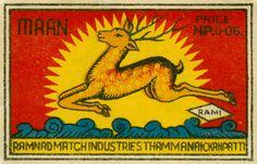 Leaping Deer of India Saftey Match Label | PrintCollection