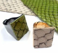 Fish leather bling rings