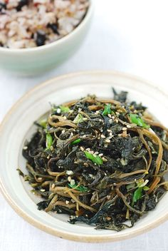 Chwinamul Bokkeum (Stir-fried Aster Scaber) |  dried chwinamul (see note) 1 tablespoon soup soy sauce 1 tablespoon minced garlic 1 tablespoon vegetable/canola oil 1 tablespoon sesame oil (or perilla oil) 1 teaspoon sesame seeds (or perilla seeds) 2 tablespoons chopped scallion