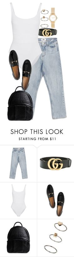"""Untitled #3140"" by elenaday ❤ liked on Polyvore featuring Paige Denim, Gucci, Eres, Alexander Wang, Topshop and Skagen"