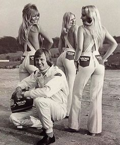 'SuperSwede' Ronnie Peterson and the Vicks girls. Vick  pharmaceutical products was a major sponsor of Peterson's racing exploits. Tragically, Peterson's F1 career ended in a fiery crash at the Monza GP in 1978.  The Swedish F1 star died in hospital a day later.