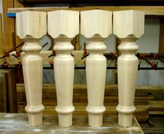 """These custom table legs are 5 1/4"""" wide and made from soft maple."""