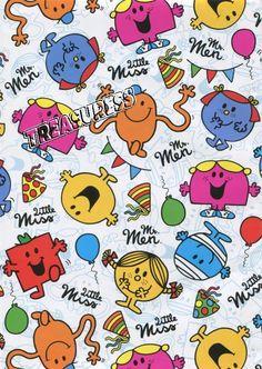 Licensed ●● Mr Men & Little Miss GIFT WRAP SHEETS x2 - 700mm x 495mm ●●