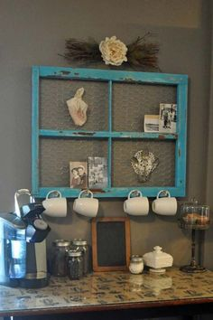 Old window with chicken wire for coffee bar decor. - Top 38 Best Ways To Repurpose and Reuse Old Windows