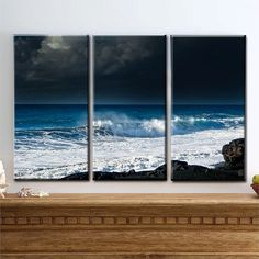 $179 - if only i could put it somewhere! Coastline Journey - Canvas Art, Lava, Beach, Storm, Clouds, Water, Black Sand, Volcano, Hawaii, Dark, Sky, Triptych, Decor,  READY TO HANG