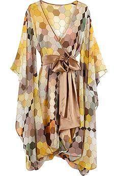 Matthew Williamson Honeycomb Silk Kimono Dress - looks short so I'd wear this as a top