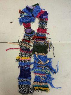 Groep 5,4 en 3. Nic. Maes. Finger knitting, finger crochet, embroidery, weaving...