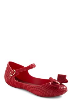 So Cute It's a Crimson Flat by Mel Shoes - Red, Solid, Bows, Casual, Spring, Fall $37.99