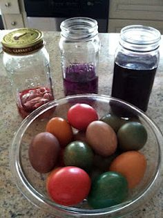 My natural dye eggs show the colours that where made for dying fiber so well.