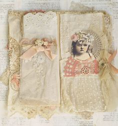 MIXED MEDIA FABRIC COLLAGE BOOK OF GIRLS IN CORAL RIBBON AND LACE | Art, Direct from the Artist, Mixed Media & Collage | eBay!