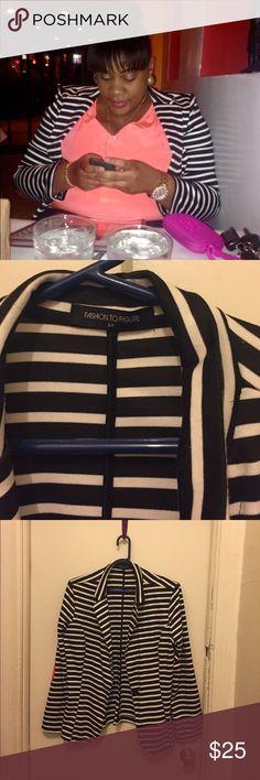 Black/White stripe Blazer Black and white stripe Blazer with coral elbow patch work. Size 2X Fashion to Figure Jackets & Coats Blazers