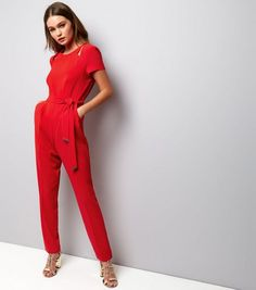 d1fbab8e24 Shop Red Cut Out Shoulder Jumpsuit. Discover the latest trends at New Look.