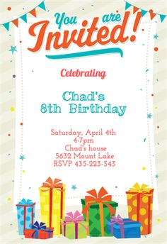 Happy Birthday Invitation Cards : Happy Birthday Invitation Card ...