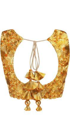 Backless Saree Blouse – Page 4 Choli Designs, Saree Blouse Designs, Blouse Styles, Indian Blouse, Indian Ethnic Wear, Golden Blouse, Sexy Blouse, Blouse Dress, Lehenga Blouse