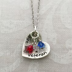 Love My Veteran Heart Necklace with crystals | Veteran's Day | Hip Mom Jewelry