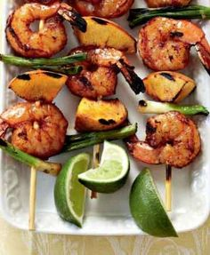 Braaied Prawn & Peach Kebabs Are The Perfect Snack For Your Next Get Together. Braai Recipes, Wine Recipes, Cooking Recipes, Easy Weeknight Meals, Easy Meals, Clean Eating Snacks, Healthy Eating, How To Cook Polenta, Grilled Prawns