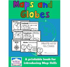 Maps and Globes - A Printable Book for Introducing or Reviewing Map Skills -   Your students will practice following written instructions as they label, color, and draw on maps and globes in this printable book.  Concepts Included in this Book: - Globe - Compass Rose - Latitude - Longitude - Continents - Oceans