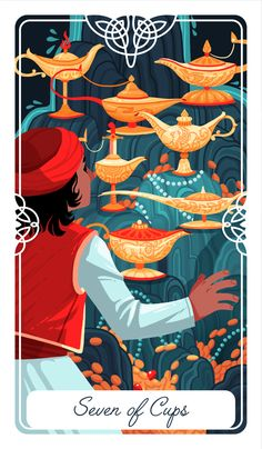 The Seven of Cups for my Fairytale Tarot This is the story of Aladdin. If you want the full story, as well as symbolism breakdown and reference sheets, please consider supporting me on Patreon!...