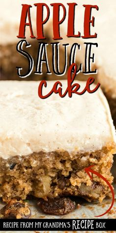 This classic applesauce cake is a favorite old-fashioned dessert from my Southern grandma. Sugar, spices, cinnamon applesauce, raisins, and walnuts are baked into a rich and moist irresistible treat. Healthy Apple Desserts, Apple Recipes, Easy Desserts, Sweet Recipes, Baking Recipes, Delicious Desserts, Cake Recipes, Dessert Recipes, Yummy Food